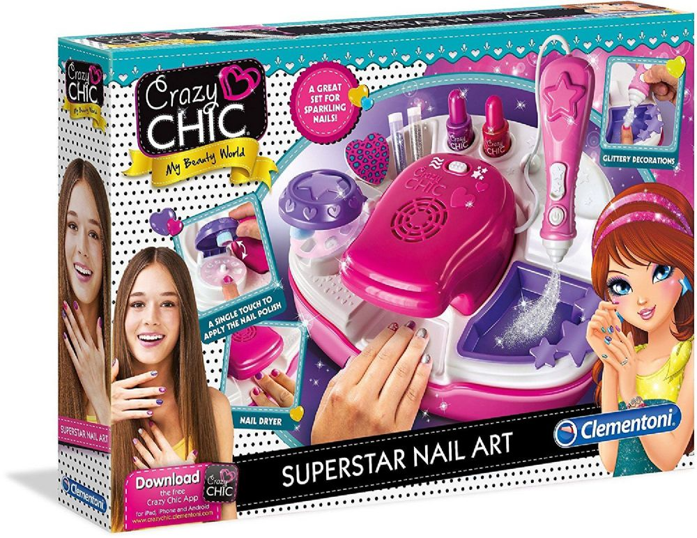 Clementoni 15174 Girls Kids Crazy Chic Superstar Nail Polish Art Set Kit Gift